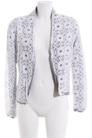Warehouse Kurz-Blazer weiß-grau florales Muster Casual-Look