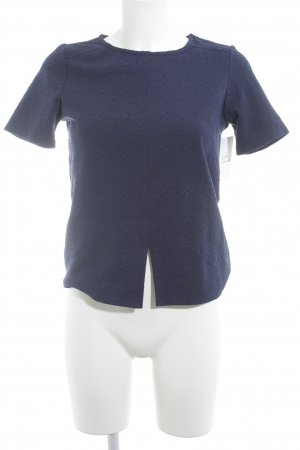 Warehouse Kurzarm-Bluse dunkelblau abstraktes Muster Elegant