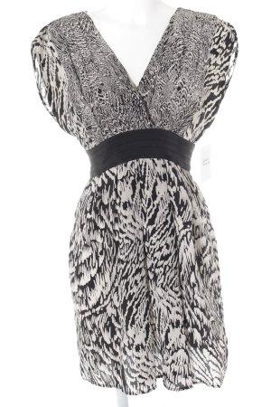 Warehouse Kurzarmkleid creme-schwarz abstraktes Muster Elegant