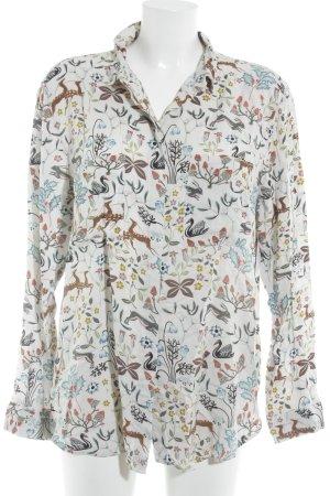 Warehouse Langarm-Bluse Motivdruck Casual-Look