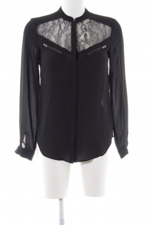 Warehouse Langarm-Bluse schwarz Elegant