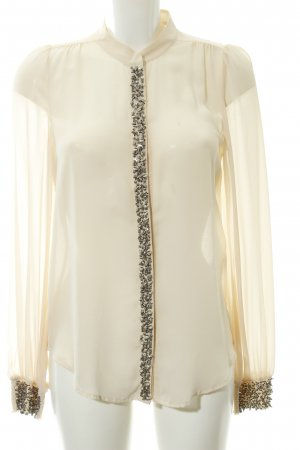 Warehouse Langarm-Bluse silberfarben-creme Party-Look