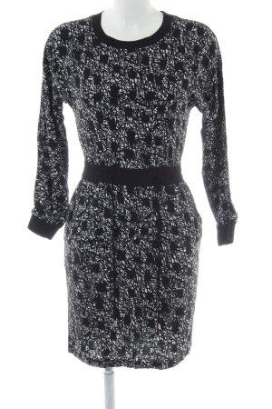 Warehouse Langarmkleid schwarz grafisches Muster Casual-Look