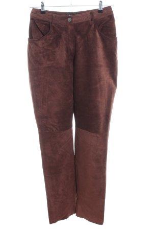 Warehouse Pantalón de cuero marrón look casual