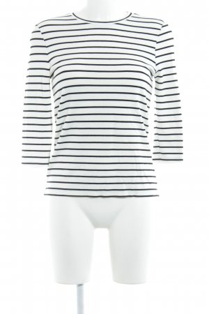 Warehouse Longsleeve weiß-schwarz Streifenmuster Casual-Look