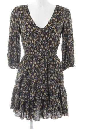 Warehouse Midikleid schwarz-gelb Blumenmuster Casual-Look