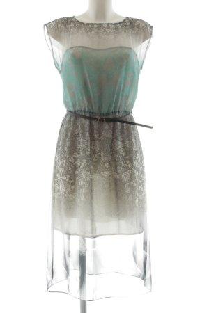 Warehouse Minikleid hellgrau-türkis abstraktes Muster Casual-Look
