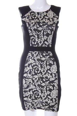 Warehouse Minikleid schwarz-wollweiß Allover-Druck Elegant