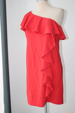 Warehouse One Sholder Kleid sexy Gr. UK 10 S M 38 rot Mini gerüscht