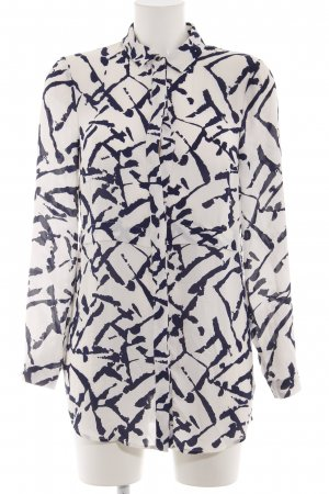 Warehouse Oversized Bluse wollweiß-blau abstraktes Muster Business-Look