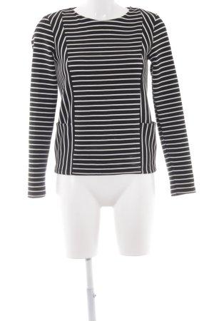 Warehouse Maglietta a righe nero-bianco motivo a righe stile casual