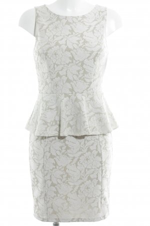 Warehouse Vestido peplum blanco-beige estampado floral elegante