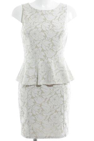 Warehouse Schößchenkleid weiß-beige florales Muster Elegant