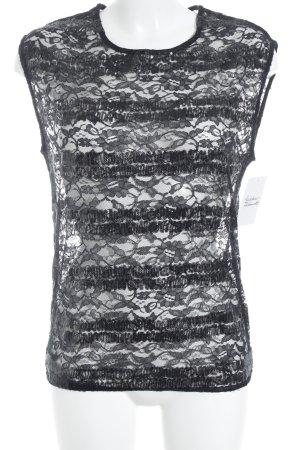 Warehouse Top di merletto nero motivo a righe con glitter