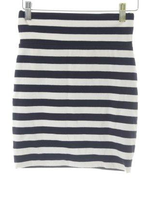 Warehouse Stretchrock weiß-dunkelblau Streifenmuster Casual-Look
