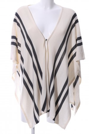 Warehouse Knitted Poncho natural white-black striped pattern casual look