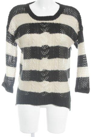 Warehouse Strickpullover creme-schwarz Streifenmuster Casual-Look