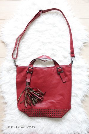 WAREHOUSE Tote Bag | Shopper-Tasche Weinrot Nieten Olivia Palermo Bag Asos