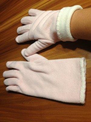 Gants blanc-rose