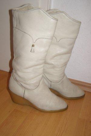 warm gefütterte Vintage Lederstiefel