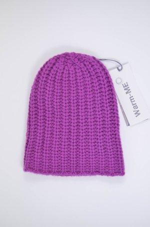 WARM-ME Strickmütze Mütze Mod.Herringbone 100% Cashmere Lila