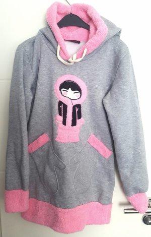 Jersey con capucha gris claro-rosa