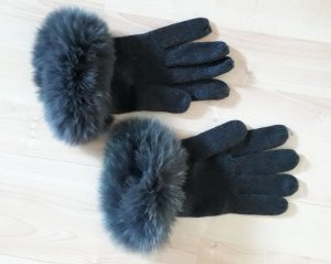 Fur Gloves dark grey merino wool