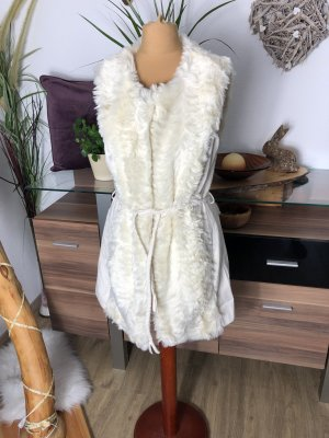 Vila Fur vest cream