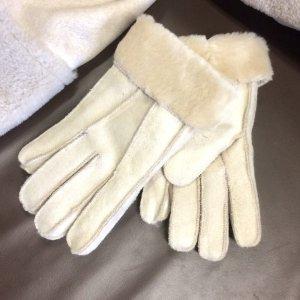 Fur Gloves natural white-oatmeal fake fur