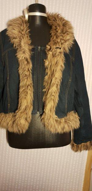 Veste courte bleu foncé coton