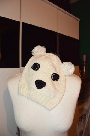 Chapeau en tricot blanc cassé-noir