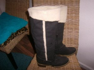 Jackboots black-natural white imitation leather