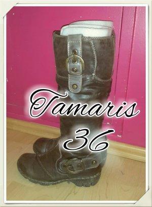 warme Tamaris 36 Echtleder Stiefel braun