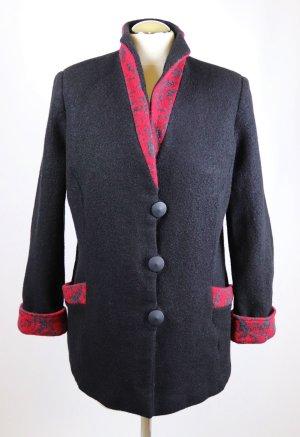Wool Jacket black-brick red wool