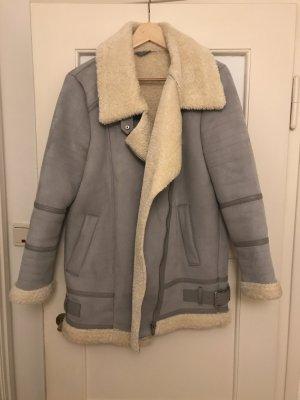 Zara Veste gris clair-blanc cassé