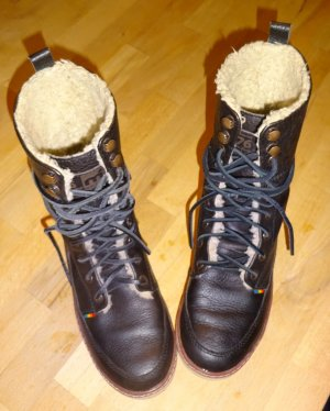 Boots black-beige leather