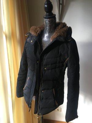 Zara Chaqueta de invierno azul oscuro-marrón