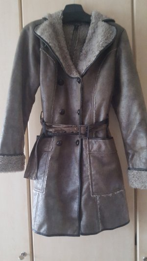 B.young Winter Coat grey brown-dark brown polyester