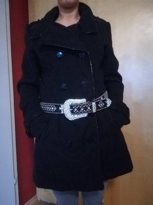 Warmer Mantel von Ed Hardy, kuschelige Wolle, mit Emblem Logos, Gr. L, Military Style, tailliert