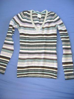 Warmer Pullover gestreift 70 % Wolle, 20 % Angora XS 34 H&M