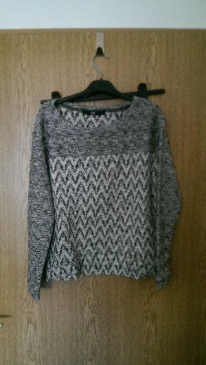warmer Pullover grau/weiß