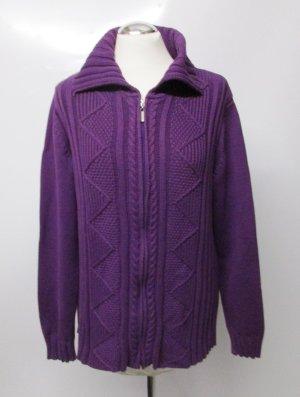 Warmer Strick Cardigan Jacke Wissmach Größe 42 L Lila Streifen Rauten Strickjacke Pullover