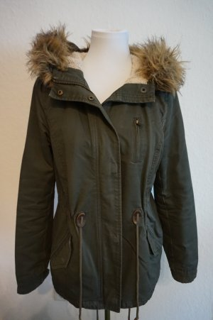 H&M Divided Hooded Coat dark green cotton
