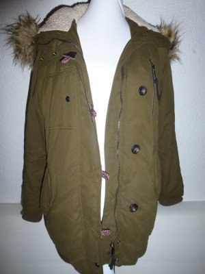 Warmer Wintermantel mit Pelzkapuze in Gr. 36 ZARA Khaki