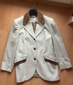 Warmer Woll-Blazer in beige-braun mit Samt-Applikationen in Größe 42
