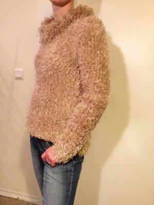 Pull en laine brun sable-jaune foncé laine