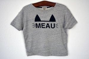 warmes graues Shirt mit Aufschrift und Katzenohren 34 36