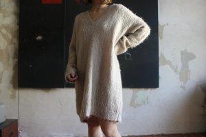 Warmes Kuscheliges Winterkleid Langer Pullover aus Mohair