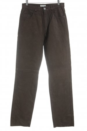 Waschbär Pantalone in pelle marrone scuro stile country