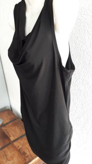 Camisa con cuello caído negro tejido mezclado